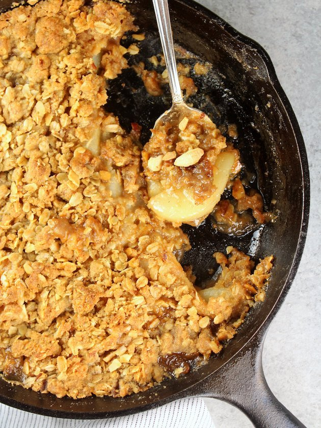 Pear Bourbon Skillet Crisp Recipe and Image Partial Pan