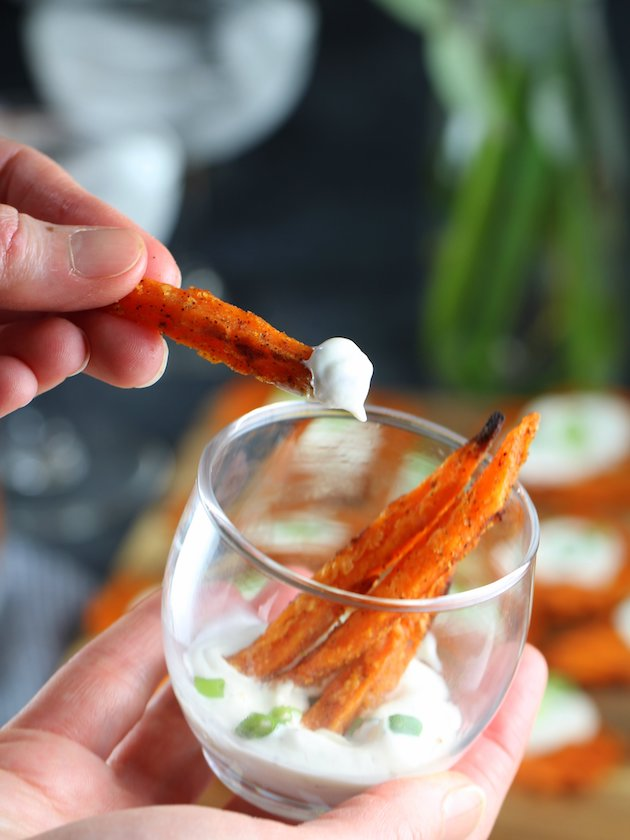 3 Easy Dippers For The Holidays Sweet Potato Fries with Buttermilk Ranch from Heluva Good! Dip