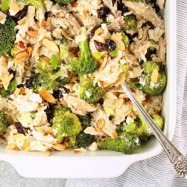 Chicken Broccoli Casserole with Cherries and Almonds Image and Recipe OT