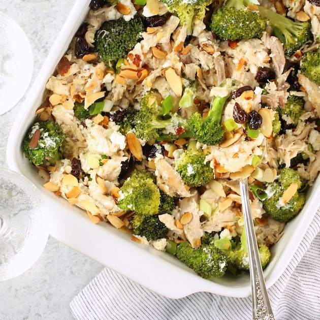 Chicken Broccoli Casserole with Cherries and Almonds Image and Recipe Wide Angled OT
