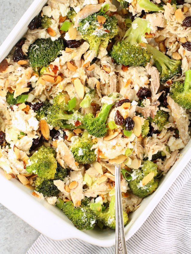 Chicken Broccoli Casserole with Cherries and Almonds Image and Recipe Angled OT