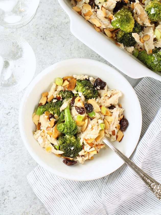 Chicken Broccoli Casserole with Cherries and Almonds Image and Recipe Serving Dish