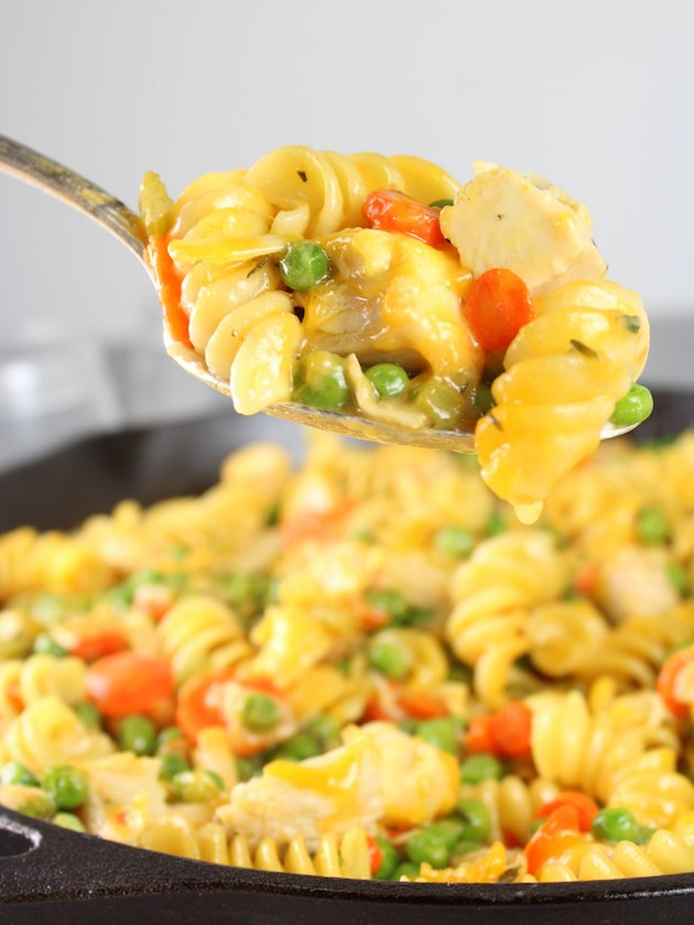 Cheesy Turkey Noodle Casserole in a spoon