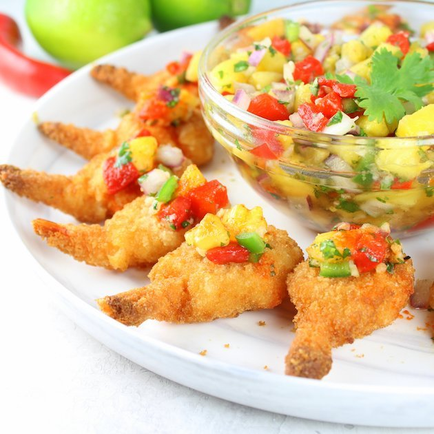 Firecracker Shrimp with Pineapple Relish Image & Recipe EL Partial Plate
