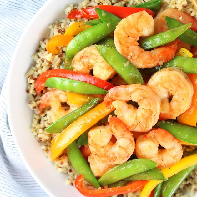 Garlic Pepper Shrimp Stir Fry Recipe & Image - Partial Bowl Over Top