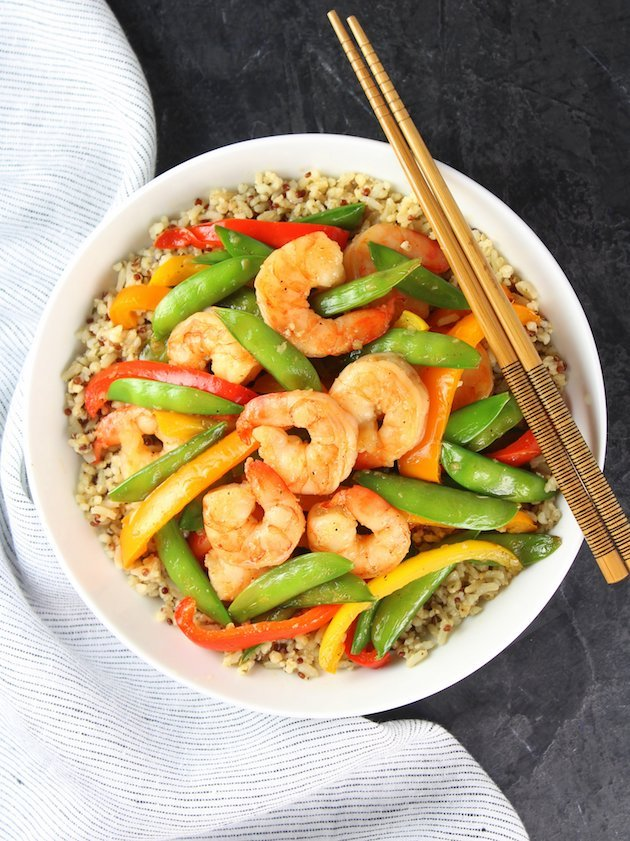 Garlic Pepper Shrimp Stir Fry Recipe & Image - Bowl Over Top