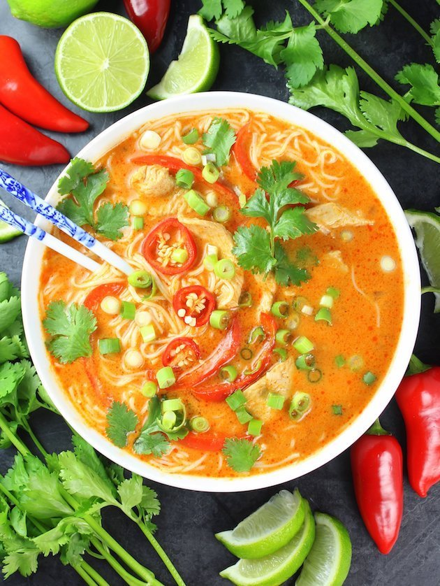 Thai Red Curry Chicken Soup Image & Recipe OT Full Bowl