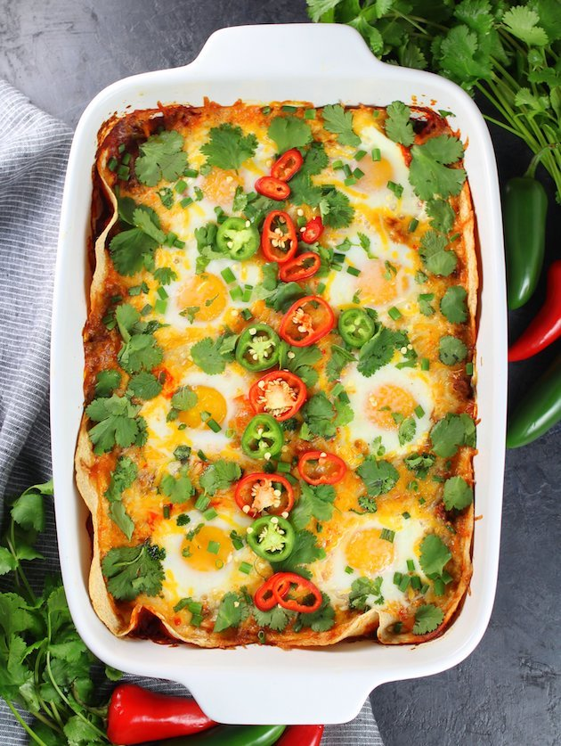 Mexican breakfast casserole with red peppers