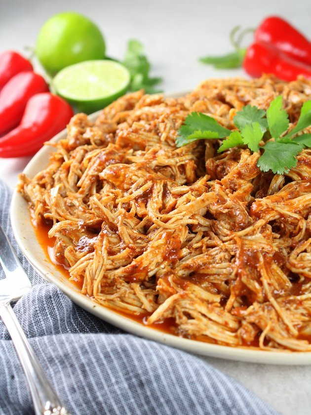 Shredded Mexican Chicken (Instant Pot + Slow Cooker) Partial Plate of Chicken Eye Level