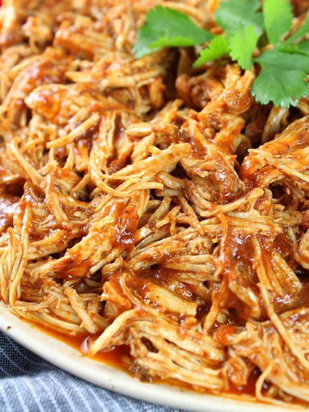 Shredded Mexican Chicken (Instant Pot + Slow Cooker) Shredded Meat Up Close