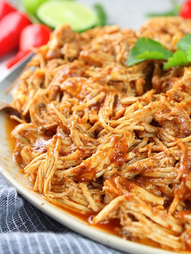 Shredded Mexican Chicken (Instant Pot + Slow Cooker) Partial Plate Chicken EL