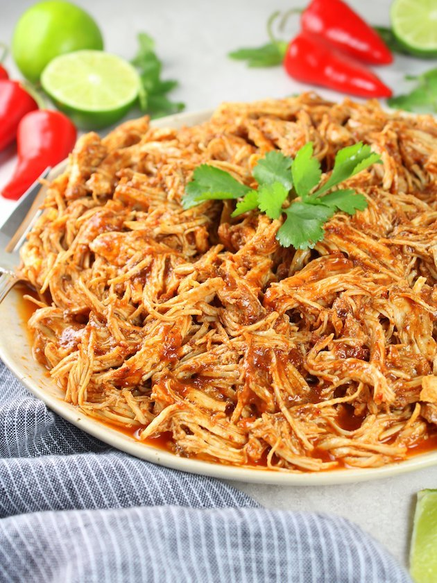 Shredded Mexican Chicken (Instant Pot + Slow Cooker) Partial Plate of Chicken table level view