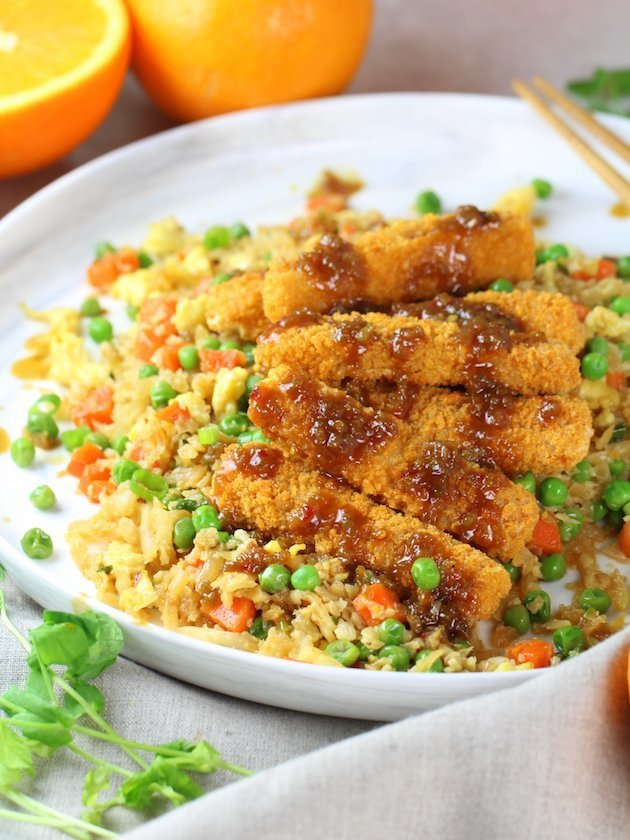 Soy-Orange Crispy Fish over Cauliflower Fried Rice Image and Recipe - Eye Level partial plate of recipe