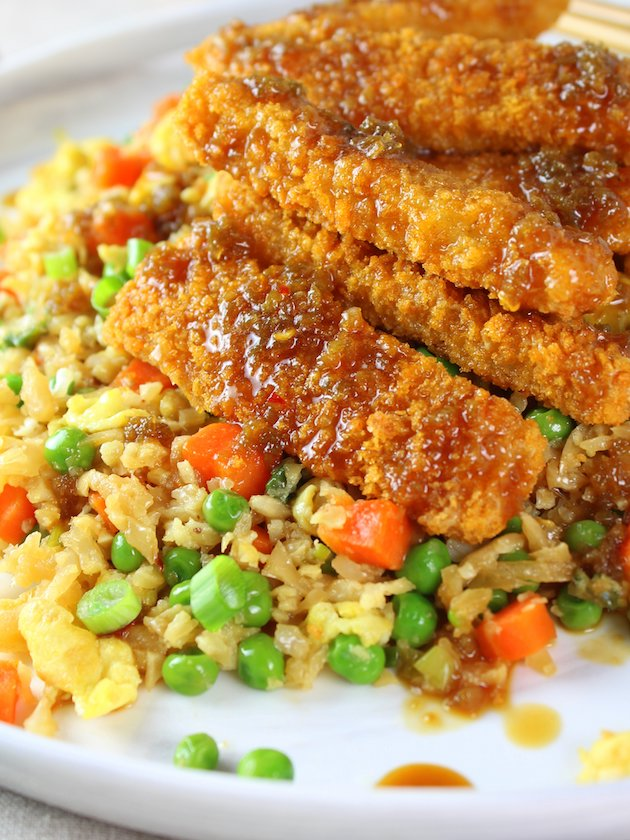 Soy-Orange Crispy Fish over Cauliflower Fried Rice - Eye Level Partial Plate