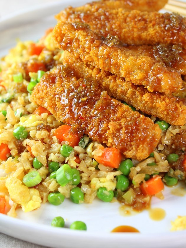 Soy-Orange Crispy Fish over Cauliflower Fried Rice Image and Recipe - Eye Level Partial Plate