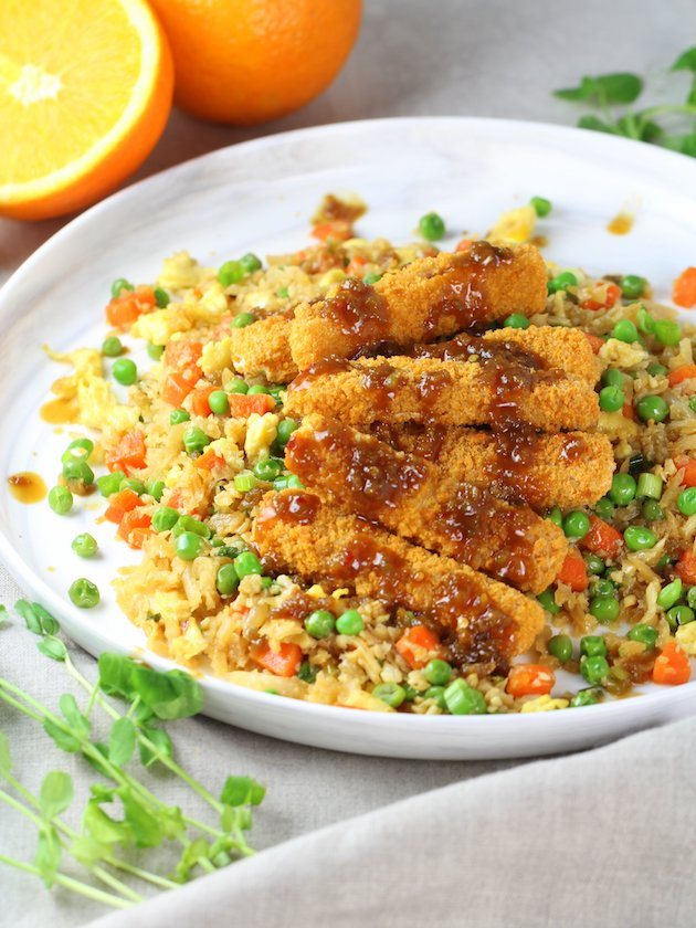 Soy-Orange Crispy Fish over Cauliflower Fried Rice Image and Recipe - Partial Plate