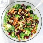 Broccoli Bacon Grape salad in a glass bowl
