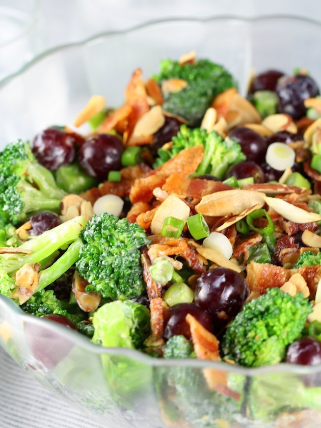 Broccoli Salad with Grapes and Bacon Recipe & Image - Eye Level up close