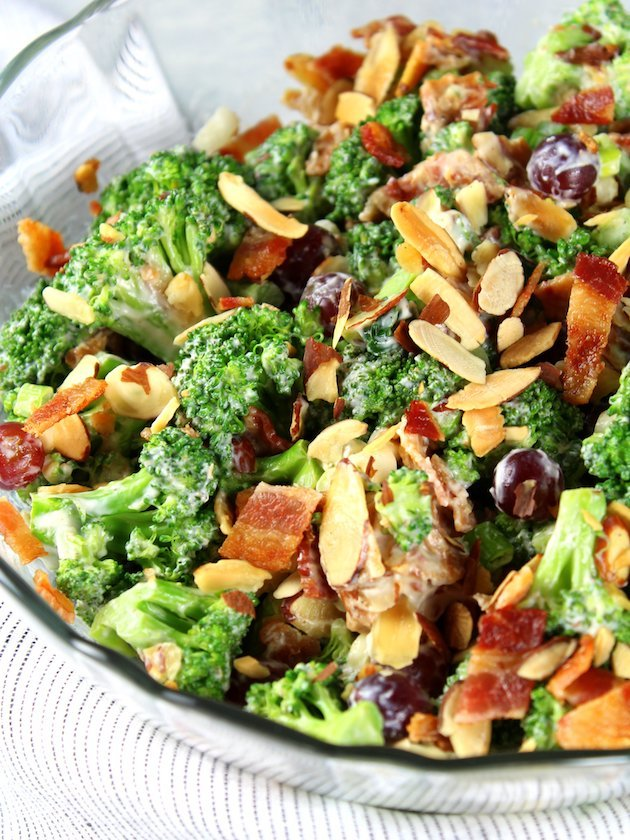 Broccoli Salad with Grapes and Bacon Recipe & Image - Up Close Bowl Of Salad
