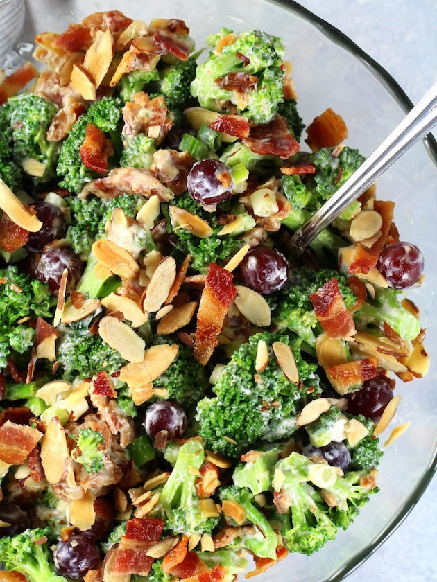 Broccoli Salad with Grapes and Bacon Recipe & Image - Over top partial bowl of salad