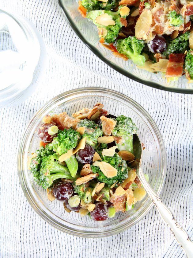 Broccoli Salad with Grapes and Bacon Recipe & Image - salad in serving dish