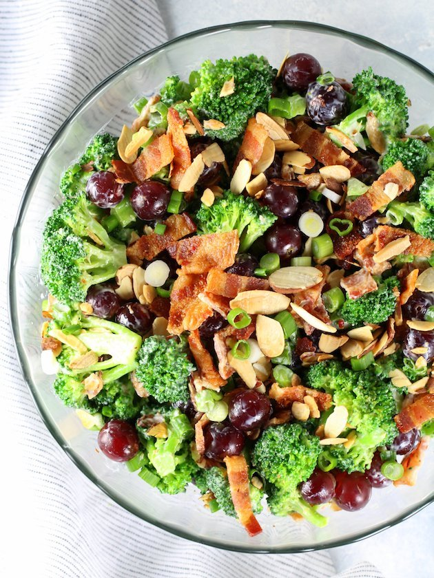 Broccoli Salad with Grapes and Bacon Recipe & Image - Partial Bowl OT