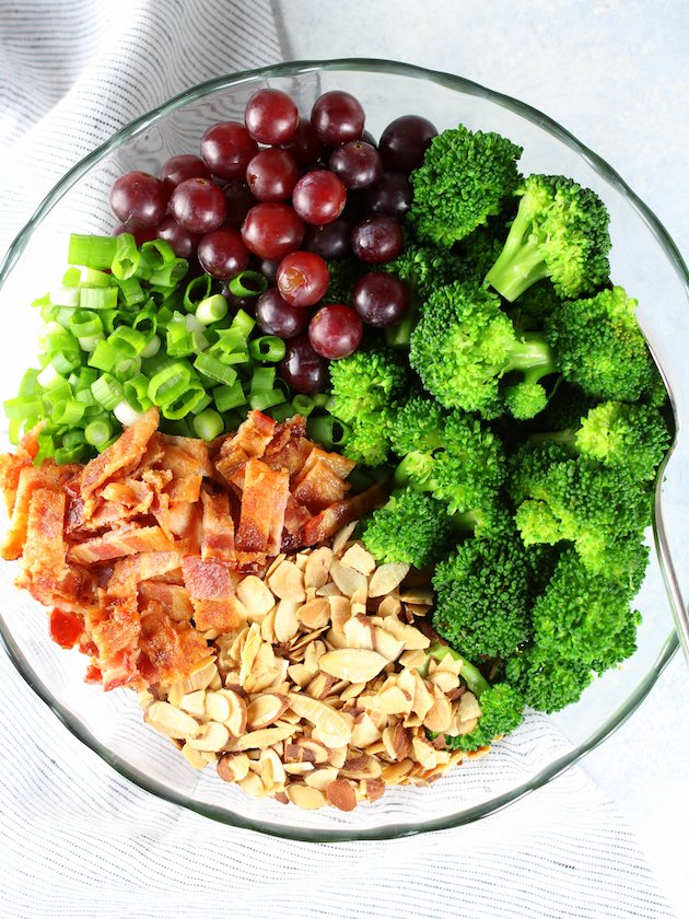 Broccoli Salad with Grapes and Bacon Recipe & Image - Bowl of ingredients