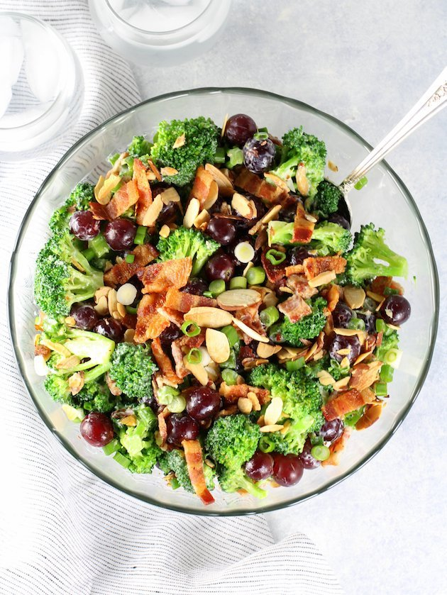Broccoli Salad with Grapes and Bacon Recipe & Image - Wide shot full bowl of salad