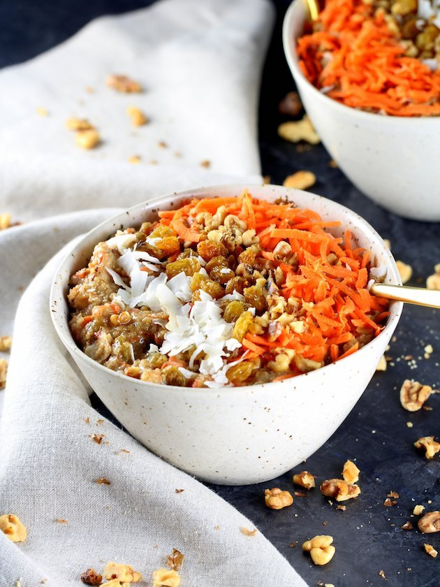 Healthy Carrot Cake Breakfast Bowl Recipe & Image - Two Breakfast Bowls