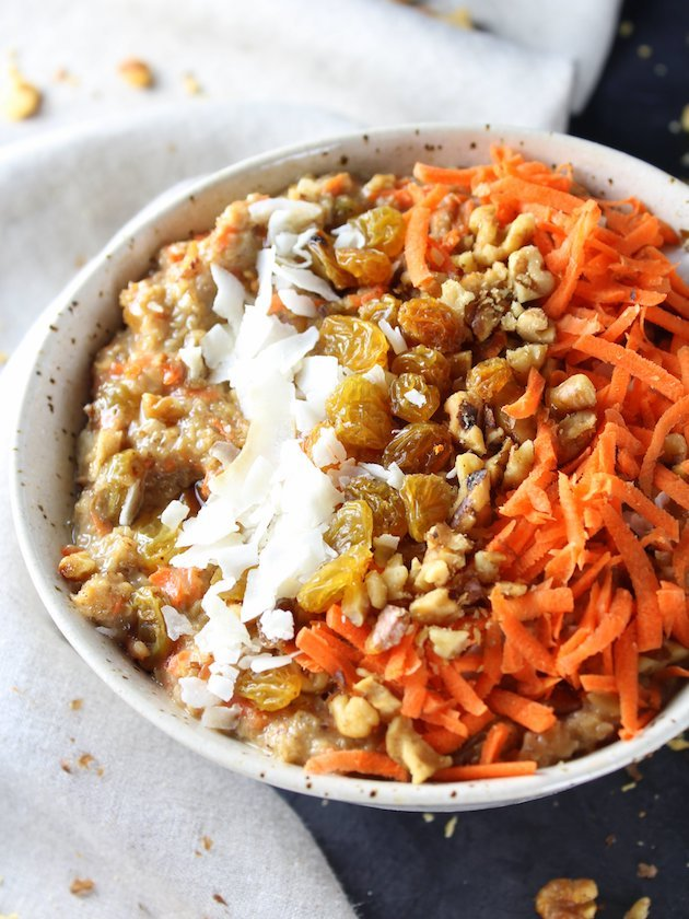 Healthy Carrot Cake Breakfast Bowl Recipe & Image Partial Bowl Over Top