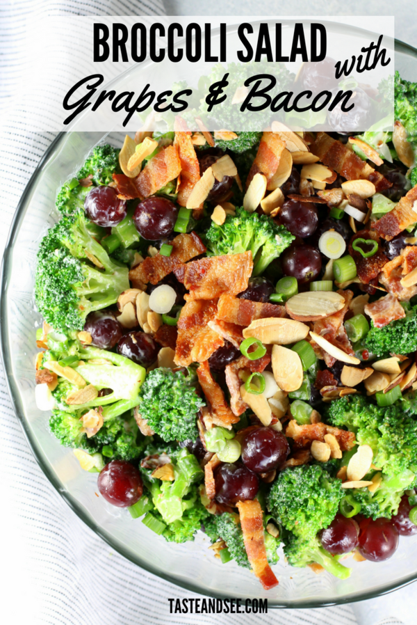 This Broccoli Salad with Grapes and Bacon - a delicious salad that can even double as a meal.  With blanched broccoli, red grapes, sliced almonds, green onions, yummy bacon, and the most delicious creamy dressing!  #healthy #easy #lowcarb #skinny #tasteandsee || https://tasteandsee.com ||