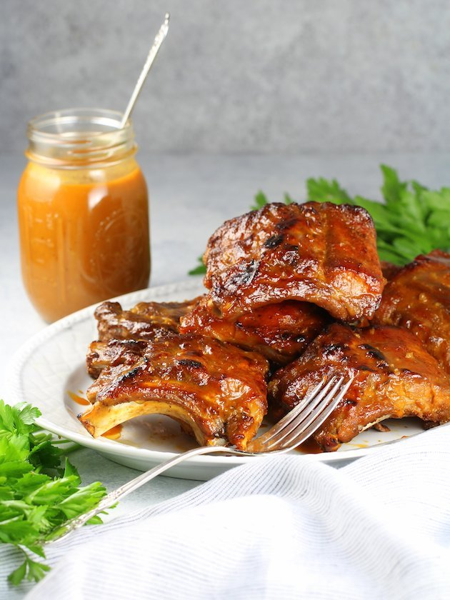 Instant Pot Baby Back Ribs Image and Recipe - EL wide ribs and sauce