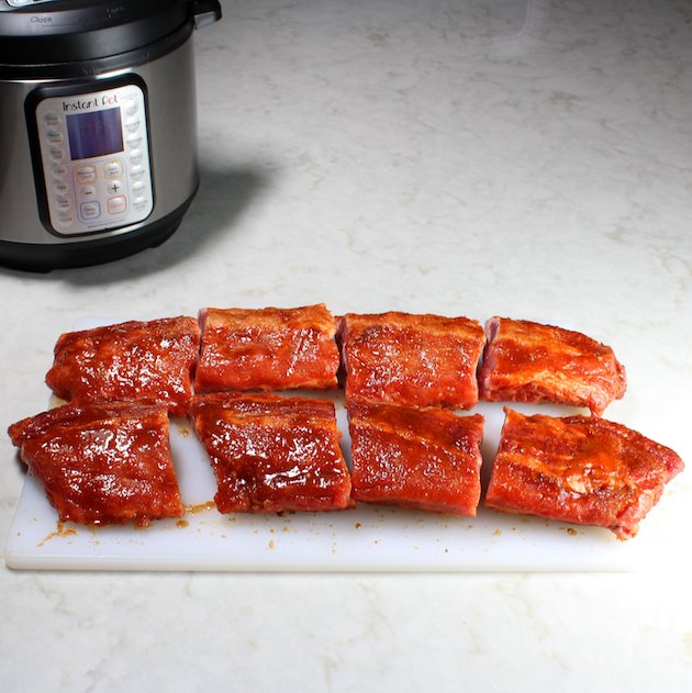Instant Pot Baby Back Ribs Image and Recipe - ribs rubbed and cut