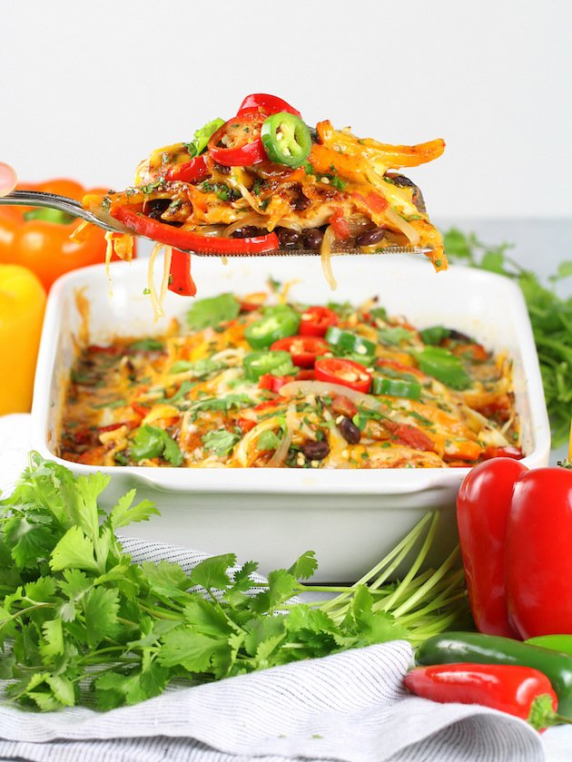 Mexican Chicken Casserole Recipe & Image - Full Pan and Spatula Wide Shot