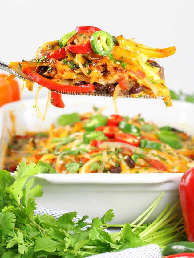 Mexican Chicken Casserole Recipe & Image - Spatula Close UP Eye Level