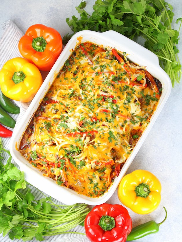 Mexican Chicken Casserole Recipe & Image - Full Dish Over Top