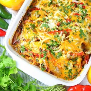 partial dish of mexican chicken casserole