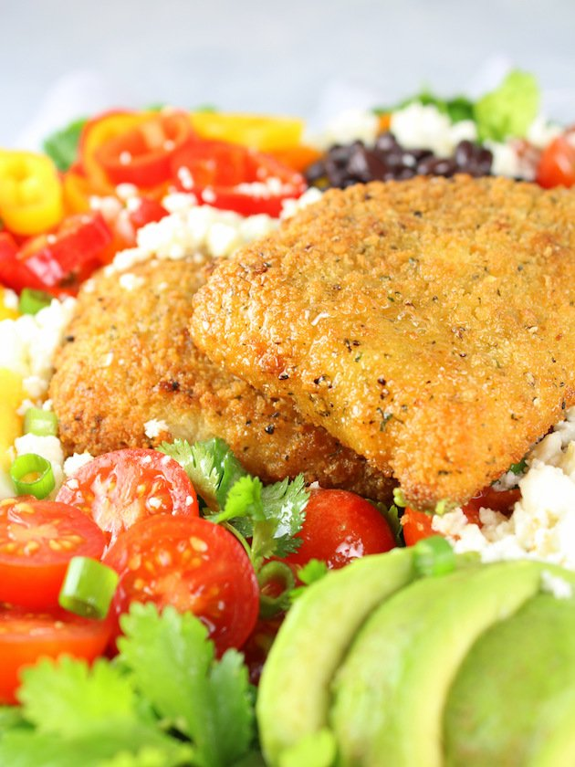 Southwestern Cobb Salad with Creamy Chipotle Dressing Recipe & Image - Eye Level Close Up Fish