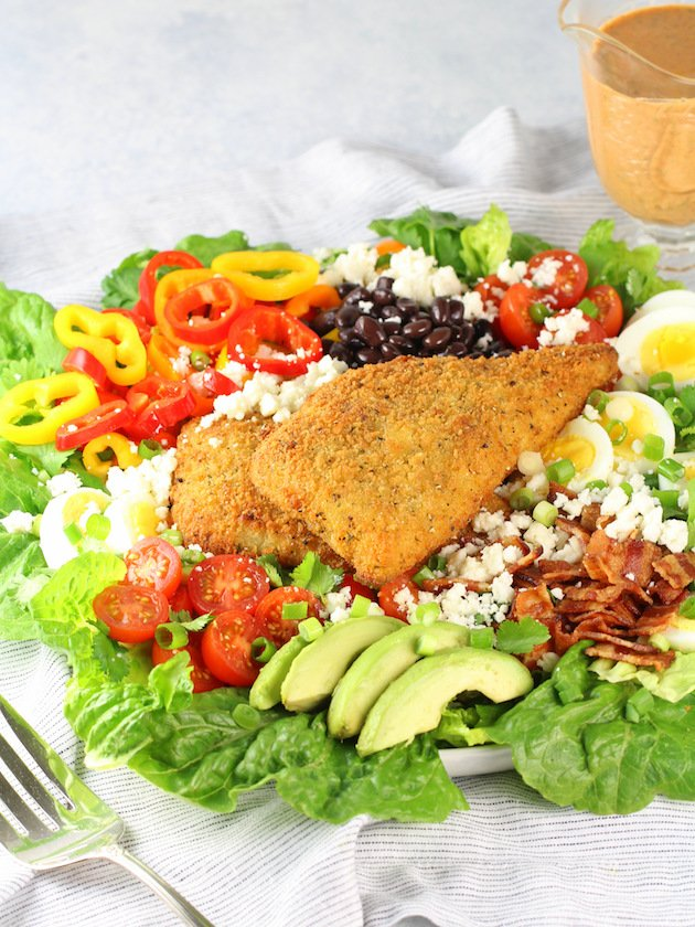 Southwestern Cobb Salad with Creamy Chipotle Dressing Recipe & Image - Full Plate of Cobb Salad with no dressing