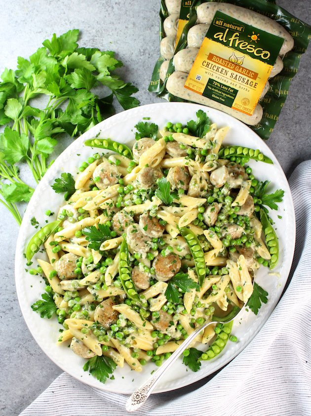 platter of Chicken Alfredo with Penne and Peas