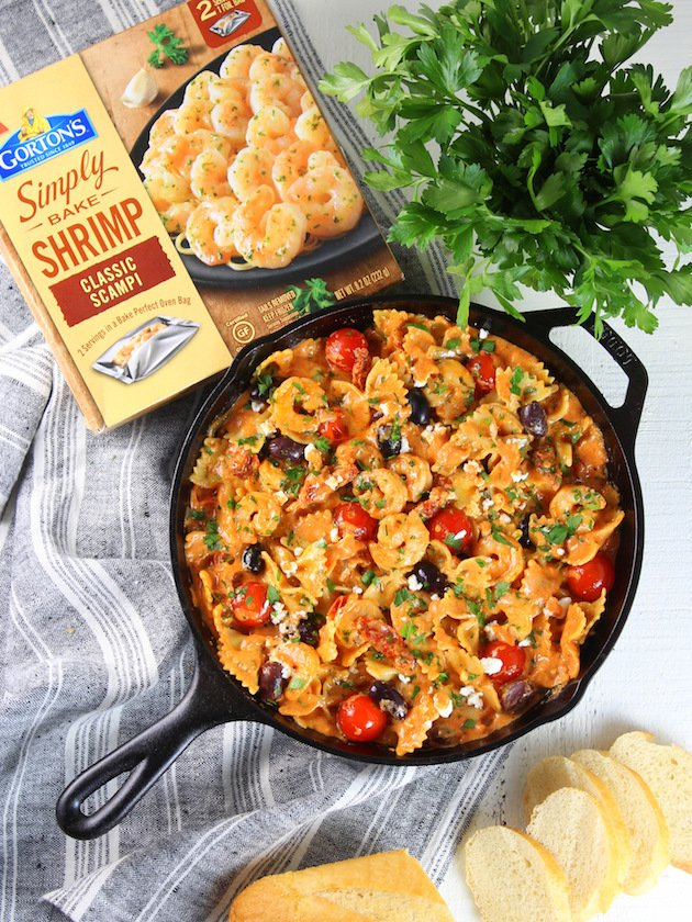 Greek Shrimp Pasta with Sun-Dried Tomatoes and Feta Recipe & Image - Full Pan Over Top with Gorton's Shrimp