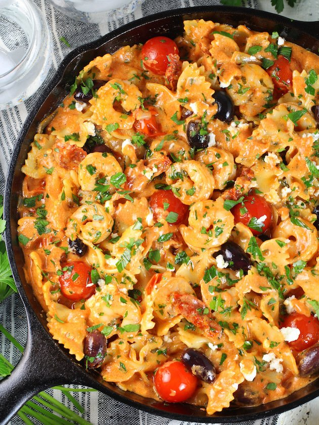 Greek Shrimp Pasta with Sun-Dried Tomatoes and Feta