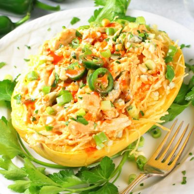 Instant Pot Spaghetti Squash Buffalo Chicken (Low Carb)