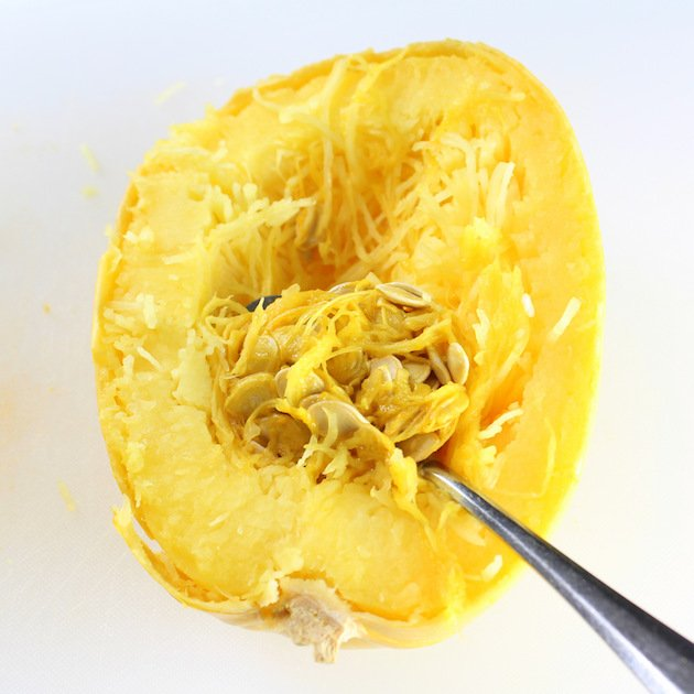 Instant Pot Spaghetti Squash Buffalo Chicken (Low Carb) - How to remove seeds from cooked spaghetti squash