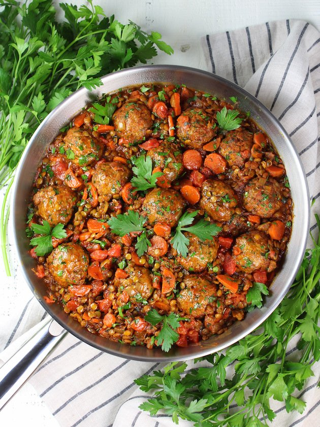 Moroccan Lentils with Turkey Meatballs Recipe & Image - Whole pan cooked lentils & meatballs OT