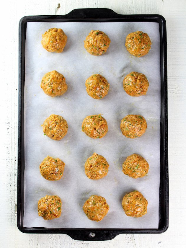 Moroccan Lentils with Turkey Meatballs Recipe & Image - Baking Sheet of Uncooked Turkey Meatballs