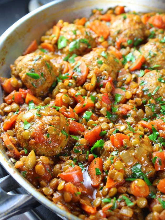 Moroccan Lentils with Turkey Meatballs in partial pan