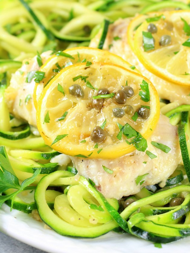 Baked Haddock Fish Piccata with Zucchini Noodles Recipe & Image: Close Up Haddock on Platter