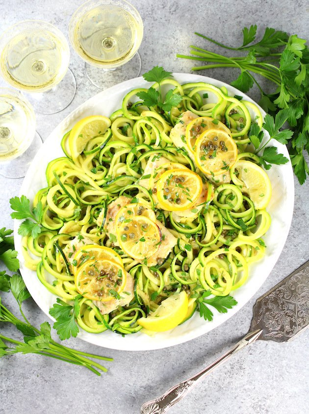 Baked Haddock Fish Piccata with Zucchini Noodles Recipe & Image: Full Platter of Fish OT Wide