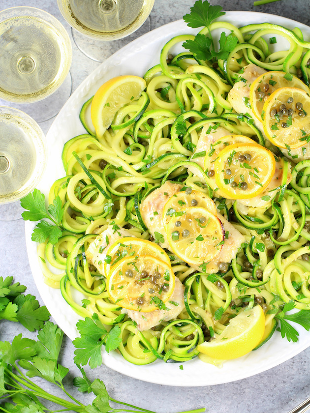 Baked Haddock Fish Piccata with Zucchini Noodles Recipe & Image: Partial Platter OT